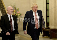 13/01/2020. Prime Minister Boris Johnston pictured with Speaker Alex Maskey at Stormont buildings on the first day of the new Power Sharing executive. Mandatory Credit.  Presseye/Stephen Hamilton