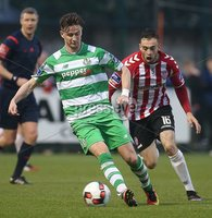 ©/Presseye.com - 19th May 2017.  Press Eye Ltd - Northern Ireland - Airtricity League Premier Division - Derry City V Shamrock Rovers. Shamrock Rovers\' Ronan Finn and Derry\'s Nathan Boyle.. Mandatory Credit Photo Lorcan Doherty / Presseye.com