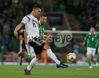 Press Eye - Belfast - Northern Ireland - 9th September 2019 - Picture Matt Mackey / Press Eye.. EURO qualifier 2020 match at the National Stadium at Windsor Park, Belfast. Northern Ireland Vs Germany.. Northern Ireland\'s Conor Washington with Germany\'s Niklas Sule.