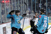 Press Eye - Belfast, Northern Ireland - 06th March 2020 - Photo by William Cherry/Presseye. Belfast Giants\' Liam Morgan celebrates scoring against the Fife Flyers during Friday nights Elite Ice Hockey League game at the SSE Arena, Belfast.   Photo by William Cherry/Presseye