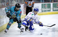 Press Eye - Belfast, Northern Ireland - 06th March 2020 - Photo by William Cherry/Presseye. Belfast Giants\' Bobby Farnham with Fife Flyers\' Mike Cazzola during Friday nights Elite Ice Hockey League game at the SSE Arena, Belfast.   Photo by William Cherry/Presseye