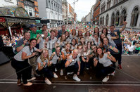 Irish Hockey Team Homecoming, Dublin 6/8/2018. The Ireland team pose with their medals. Mandatory Credit  ©INPHO/Tommy Dickson