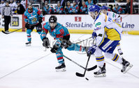 Press Eye - Belfast -  Northern Ireland - 09th February 2018 - Photo by William Cherry/Presseye. Belfast Giants Steve Saviano with Fife Flyers Ian Young  during Friday nights Elite Ice Hockey League game at the SSE Arena, Belfast.
