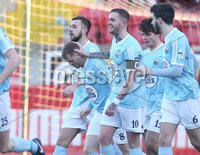 Press Eye - Belfast - 6th January 2018  . Cliftonville v Warrenpiont Town, Tennents Irish Cup 5th round at Solitude, North Belfast.. Warrenpiont Town\'s Martin Murray celebrates scoring. Picture by Matt Mackey / Inpho.ie