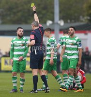 ©/Presseye.com - 19th May 2017.  Press Eye Ltd - Northern Ireland - Airtricity League Premier Division - Derry City V Shamrock Rovers. Shamrock Rovers\' Brandon Miele booked by match referee Ben Connolly.. Mandatory Credit Photo Lorcan Doherty / Presseye.com