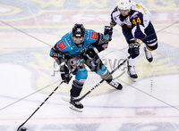 Press Eye - Belfast -  Northern Ireland - 10th October 2018 - Photo by William Cherry/Presseye. Belfast Giants\' Patrick Dwyer with Guildford Flames\' Jesse Craige during Wednesday nights Elite Ice Hockey League game at the SSE Arena, Belfast.        Photo by William Cherry/Presseye.