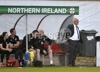 Press Eye - Belfast - Northern Ireland - 8th June. World Cup qualifier - Northern Ireland  v Netherlands at Shamrock Park Portadown.. Northern Irelands manager Alfie Wylie. Mandatory Credit: Presseye/Stephen Hamilton