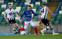 Unite the Union Champions Cup First Leg, National Football Stadium at Windsor Park, Belfast 8/11/2019. Linfield vs Dundalk. Linfield\'s Shayne Lavery with Sean Hoare and Andy Boyle of Dundalk. Mandatory Credit  INPHO/Brian Little