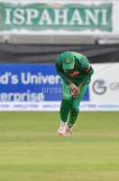 Mandatory Credit: Rowland White / PressEye. Cricket: Walton Tri-Series International. Teams: Ireland (light green) v Bangladesh (dark green). Venue: Malahide. Date: 19th May 2017. Caption: How to drop a catch - 2 by Mosaddek Hossain, Bangladesh