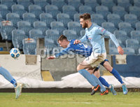 Danske Bank Premiership, Showgrounds, Ballymena.. 16/2/2021. Ballymena United  FC vs Coleraine FC . Ballymena United     and Coleraine  Stewart Nixon during Tuesday night\'s Danske Bank Premiership match at Ballymena Showgrounds.. Mandatory Credit  INPHO/Brian Little