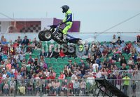 PressEye-Northern Ireland- 15th May  2019-Picture by Brian Little/PressEye. Stunt motorcycle rider performing at Balmoral Park during the first day of the Balmoral Show 2019. Picture by Brian Little/PressEye