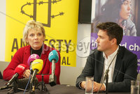 Press Eye - Belfast - Northern Ireland - 28th September 2018. Conservative MPs Anna Soubry, Huw Merriman and Nicky Morgan visit Belfast for a series of meetings regarding reform to the abortion law in Northern Ireland.  They met with women, midwives and doctors affected by the law.  They also met legal professionals and local politicians. . Left to right.  Anna Soubry and Huw Merriman speak to the press at the MAC in Belfast. . Picture by Jonathan Porter/PressEye