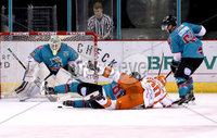 Press Eye - Belfast, Northern Ireland - 06th December 2019 - Photo by William Cherry/Presseye. Belfast Giants\' Shane Owen with Sheffield Steelers\' John Armstrong during Friday nights Elite Ice Hockey League game at the SSE Arena, Belfast.       Photo by William Cherry/Presseye.
