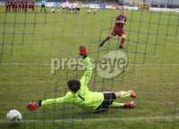 PressEye-Northern Ireland- 27th   July  2018-Picture by Brian Little/PressEye. SuperCupNI. Minor  Section . Greenisland  Jack Patterson scores a penalty during the penalty shootout past Bertie Peacock Youths goal keeper Harry Buckley  during the SuperCupNI Minor Final  at Coleraine Showgrounds. . Picture by Brian Little/PressEye
