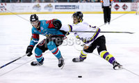 Press Eye - Belfast -  Northern Ireland - 11th February 2018 - Photo by William Cherry/Presseye. Belfast Giants Sebastien Sylvestre with Manchester Storm\'s Linden Springer during Sunday afternoons Elite Ice Hockey League game at the SSE Arena, Belfast.