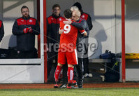 Picture - Kevin Scott / Presseye. Belfast , UK - NOVEMBER 21, Pictured is Cliftonvilles\' David McDaid scores in action during the game at Solitude in Belfast, Northern Ireland on November 21 (Photo by Kevin Scott / Presseye).