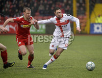Danske Bank Premiership, Solitude Belfast, Co Antrim 10/03/2018. Cliftonville  vs Crusaders . Cliftonville\'s Chris Curran  in action with Crusaders Sean Ward. Mandatory Credit ©INPHO/Stephen Hamilton.