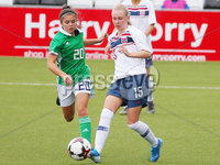 Press Eye - Belfast - Northern Ireland - 8th October 2019. European Women\'s U19 Championship 2020 Qualifying Round -  Northern Ireland Vs Norway, Seaview. Northern Ireland\'s Joely Andrews with Norway\'s Emilie Marie Joramo... Picture by Jonathan Porter/PressEye