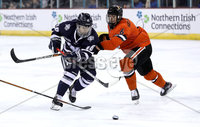 Press Eye - Belfast, Northern Ireland - 30th November 2019 - Photo by William Cherry/Presseye. Princeton Tigers\' Matt Kellenberger with UNH Wildcats\' Kohei Sato during Saturday afternoons Friendship Four game at the SSE Arena, Belfast.      Photo by William Cherry/Presseye