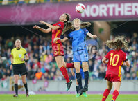 Press Eye Belfast - Northern Ireland 8th August 2017. 2017 UEFA Women\'s Under-19 Championship Final at the National Stadium at Windsor Park, Belfast.  France Vs Spain. France\'s Lena Goetsch with Spain\'s Damaris Equrrola. Picture by Jonathan Porter/PressEye.com.