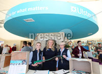 Press Eye - Belfast - Northern Ireland - 16th May 2018. First day of the 2018 Balmoral Show, in partnership with Ulster Bank, at Balmoral Park.  Jenny Gregg . and Lila Gregg from Craft Equestrian with Lynsey Cunningham Regional Director, Entrepreneurship at Ulster Bank. Craft Equestrian was one of the companies provided with free space by Ulster Bank to exhibit in its marquee. The companies include Ulster Bank customers and entrepreneurs from the bank\'s Entrepreneur Accelerator.. Picture by Jonathan Porter/PressEye