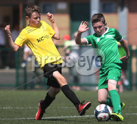 ©/Presseye.com - 17th July 2017.  Press Eye Ltd - Northern Ireland - Hughes Insurance Foyle Cup 2017- Mini Soccer U-10 - Kick Start (Derry) V Illies Celtic (Donegal). Illies Celtic\'s Oisin Doherty and Kick Start\'s Jack O\'Donnell..  . Mandatory Credit Photo Lorcan Doherty / Presseye.com
