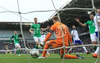 PressEye-Northern Ireland- 8th September  2018-Picture by Brian Little/ PressEye. Bosnia and Herzegovina Hasis Duljevic scores the opening goal past Northern Ireland  goal keeper Bailey Peacock-Farrell      during  Saturday\'s  UEFA Nations League match at the National Football Stadium at Windsor Park.. Picture by Brian Little/PressEye .