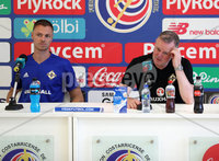 Press Eye - Belfast -  Northern Ireland - 02nd June 2018 - Photo by William Cherry/Presseye. Northern Ireland manager Michael O\'Neill and Jonny Evans pictured during Saturday afternoons press conference at the Nuevo Estadio Nacional de Costa Rica in San Jose ahead of Sundays Friendly International against Costa Rica.. Photo by William Cherry/Presseye