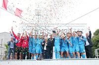 Press Eye - Belfast - Northern Ireland - 27th July 2018. SuperCupNI Cup International Youth Football Tournament at Ballymena\'s Showgrounds.  Supercut Final.  B Italia Vs Co. Down.. B Italia celebrate and lift the trophy after winning the match.  . .. Picture by Jonathan Porter/PressEye