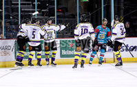 Press Eye - Belfast -  Northern Ireland - 11th February 2018 - Photo by William Cherry/Presseye. Manchester Storm celebrate scoring against Belfast Giants during Sunday afternoons Elite Ice Hockey League game at the SSE Arena, Belfast.