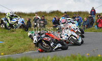Mandatory Credit: Rowland White / PressEye. ULSTER GRAND PRIX. Venue: Dundrod. Date: 12th August 2017. Class: SUPERSPORT RACE. Caption: Peter Hickman, Bruce Anstey and Lee Johnston