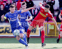 Danske Bank Premiership, Solitude, Belfast 9/9/2017 . Cliftonville vs Dungannon Swifts . Cliftonville\'s Jay Donnelly with Dungannon\'s Ryan Harpur. Mandatory Credit ©INPHO/Jonathan Porter