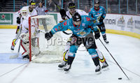 Press Eye - Belfast -  Northern Ireland - 11th January 2019 - Photo by William Cherry/Presseye. Belfast Giants David Rutherford with HK Gomels Roman Bobariko during Friday nights Continental Cup Final game at the SSE Area, Belfast.   Photo by William Cherry/Presseye