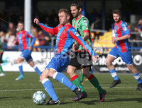 Danske Bank Premiership, Newtownards, Co. Down 7/10/2017 . Ards vs Glentoran. Ards player Johnny Taylor in action with Glentoran\'s Marcus Kane. Mandatory Credit ©INPHO/Matt Mackey