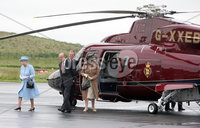 Her Majesty the Queen and Prince Philip arrive at St Angelos airport in Enniskillen at the start of their two day visit to Northern Ireland to mark the Queens 60th anniversary.. Photo by Harrison Photography / pool pictures