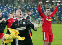 Tennent\'s Irish Cup Quarter-Final, Windsor Park, Belfast 13/3/2018 . Linfield vs Cliftonville. Cliftonville celebrates after they win the match 0-1 and go through to the next round. . Mandatory Credit ©INPHO/Jonathan Porter