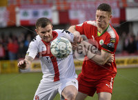 Danske Bank Premiership, Solitude Belfast, Co Antrim 10/03/2018. Cliftonville  vs Crusaders . Cliftonville\'s Shane Grimes  in action with Crusaders Darren Murray . Mandatory Credit ©INPHO/Stephen Hamilton.