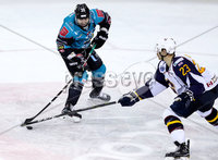 Press Eye - Belfast -  Northern Ireland - 10th October 2018 - Photo by William Cherry/Presseye. Belfast Giants\' Patrick Dwyer with Guildford Flames\' Corbin Baldwin during Wednesday nights Elite Ice Hockey League game at the SSE Arena, Belfast.        Photo by William Cherry/Presseye