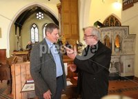 Wednesday 13th September 2017. Mandatory Credit ©Lorcan Doherty Press Eye . Christ Church attacked by vandals . Archdeacon Robert Miller speaking to Bishop Donal McKeown.. Mandatory Credit ©Lorcan Doherty. . Vandals who broke into a Londonderry church have smashed windows and damaged an organ reputed to be one of the most beautiful in Ireland.. The break-in at Christ Church on Infirmary Road was discovered late on Tuesday.. A decanter used in Holy Communion services was also stolen.. Police have yet to establish a motive for the attack, which the Bishop of Derry and Raphoe, the Right Rev Ken Good, has described as