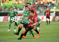 Wednesday 11th July 2018. UEFA Champions League First Qualifying Round First Leg between PFC Ludogorets Razgrad and Crusaders FC .. Ludogorets Svetoslav Atanasov Dyakov in action with Crusaders Paul Heatley . Mandatory Credit: Inpho/Stephen Hamilton