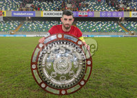 County Antrim Shield Final -  Windsor Park.  21.01.20. Cliftonville FC vs Ballymena United. Cliftonville celebrate after wining the final 2-1 and lift the shield.  Joe Gormley pictured with the shield. . Mandatory Credit INPHO/Jonathan Porter
