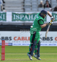 Mandatory Credit: Rowland White / PressEye. Cricket: Walton Tri-Series International. Teams: Ireland (light green) v Bangladesh (dark green). Venue: Malahide. Date: 19th May 2017. Caption: A nick from Paul Stirling and caught
