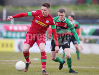 Danske Bank Premiership at the Oval in Belfast . 07.03.2020. Glentoran Vs Cliftonville. Glentorans Christopher Paul Gallagher with Cliftonvilles Ryan Curran. Mandatory Credit INPHO/Jonathan Porter