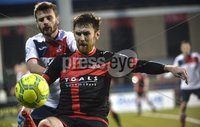 . Danske Bank Premiership, Seaview, Belfast 13/1/2018. Crusaders vs Ards. Crusaders Howard Beverland in action with Ards Nathan Hanley. Mandatory Credit ©INPHO/Stephen Hamilton