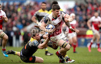 European Rugby Champions Cup Round 5, Kingspan Stadium, Belfast 13/1/2018. Ulster vs La Rochelle. Ulster\'s Nick Timoney and Pierre Bourgarit of La Rochelle. Mandatory Credit ©INPHO/Ryan Byrne