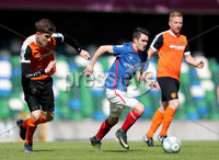 Press Eye - Belfast -  Northern Ireland - 12th August 2017 - Photo by William Cherry/Presseye. Linfield\'s Paul Smyth with Carrick\'s Patrick McNally during Saturdays Danske Bank Premiership game at the National Stadium at Windsor Park, Belfast.