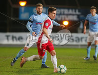 Tenants Country Antrim Shield Semi Final at Ballymena Showgrounds.  08.01.2019. Ballymena United v Linfield FC. Ballymena\'s James Knowles with Linfield\'s Jordan Stewart. Mandatory CreditINPHO/PressEye.com/Jonathan Porter.