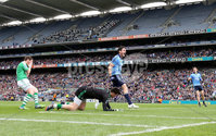 GAA Football All Ireland Senior Championship Quarter-Final, Croke Park, Dublin 2/8/2015. Dublin vs Fermanagh. Dublin\'s Bernard Brogan celebrates scoring the opening goal. Mandatory Credit ©INPHO/Cathal Noonan