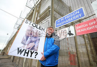 Press Eye - Belfast - Northern Ireland - 19th May 2019. Protest at the gates of Maghaberry Prison in Co. Down by families who have lost loved ones to suicide in prison. Paul McConville(pictured) lost his 22-year-old son Daniel in August 2018.  The father-of-two from Lurgan died while in custody. He had been due to appear in court charged with possession of cannabis resin the day after he died.. . Picture by Jonathan Porter/PressEye