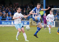 Danske Bank Premiership, The Ballymena Showgrounds, Co. Antrim 14/4/2018 . Coleraine vs Ballymena United.. Coleraine\'s Darren McCauley with Ballymena\'s Tony Kane. Mandatory Credit ©INPHO/Jonathan Porter